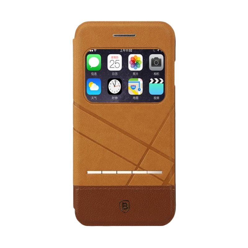 Baseus Unique Coklat Leather Casing for iPhone 6 Plus
