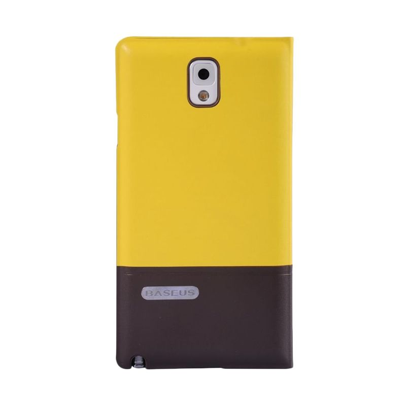 Baseus Unique Leather Casing For With Auto Sleep Function Yellow / Brown Casing For Samsung Galaxy Note 3