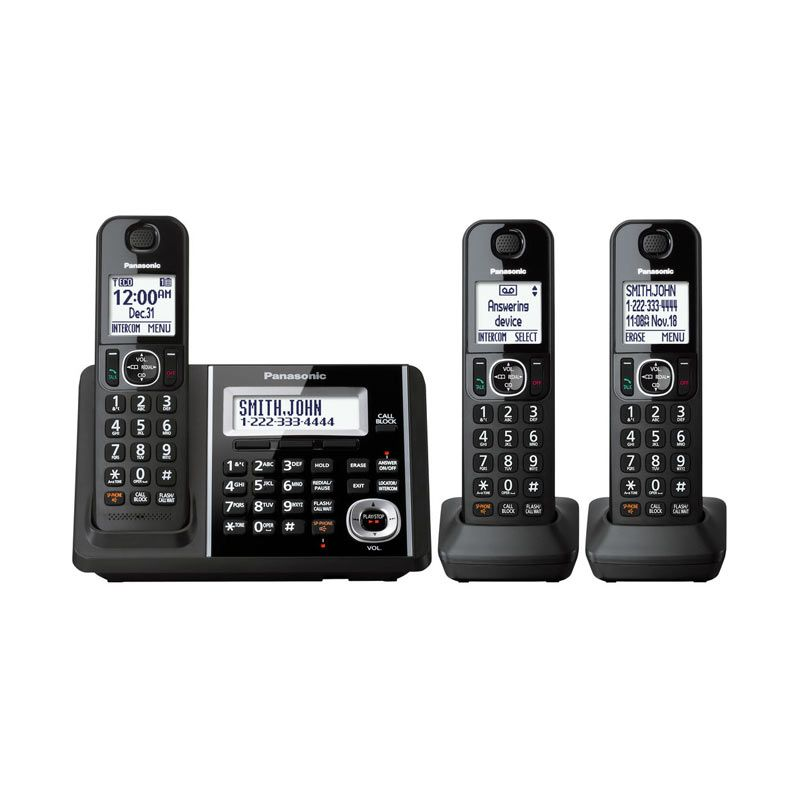 Panasonic Cordless Phone KX-TGF343 B Answering Machine with 3 Handsets - Telephone Wireless