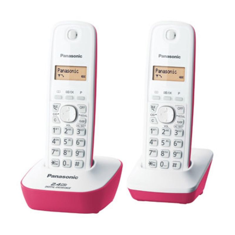 Panasonic Cordless Phone KX-TG3412 Pink Telepon [2 handsets]