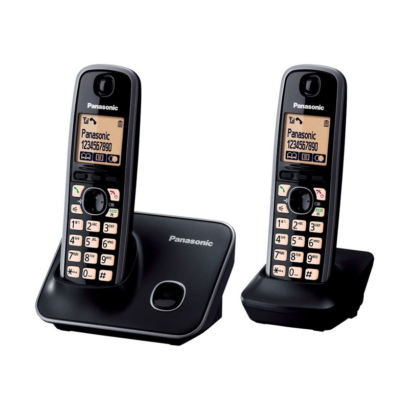 Panasonic Cordless Phone KX-TG6612 Hitam Wireless Telepon