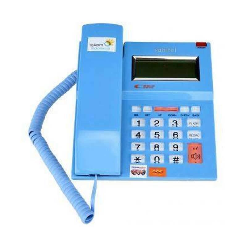 Sahitel Single Line S52 Biru Telepon Kabel [Speakerphone]