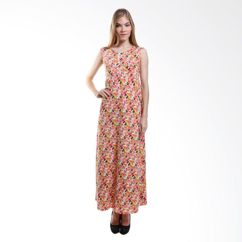 Duapola Flower Button Stephanie 145 Orange Long Dress