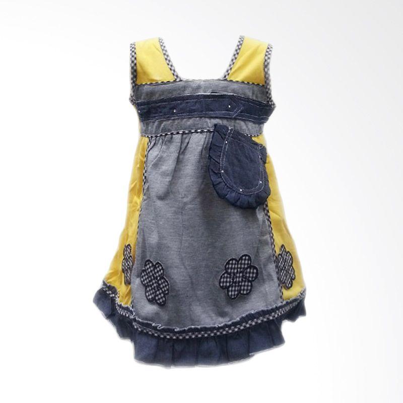 Two Mix 1862 Soft Abuabu Kuning Dress Anak Perempuan