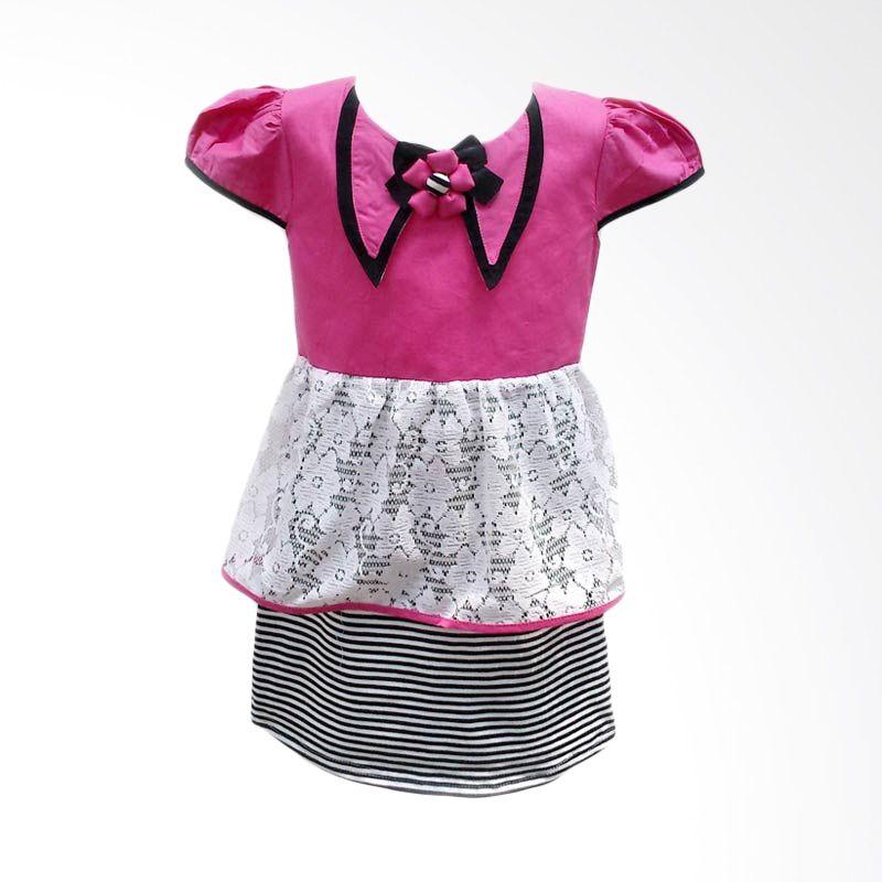 Two Mix 1914 Dress Broklat Salur Sifon Pink