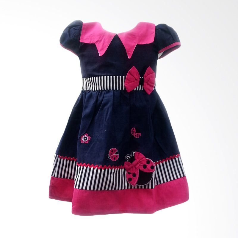 Two Mix Dress Jeans Kerah Zigzag Pink 2 Dress Anak Perempuan