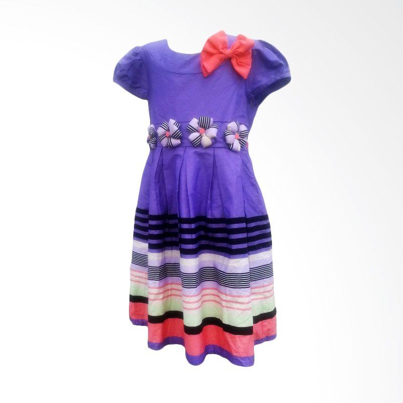 Two Mix Dress Katun Salur Lipit Ungu Dress Anak Perempuan