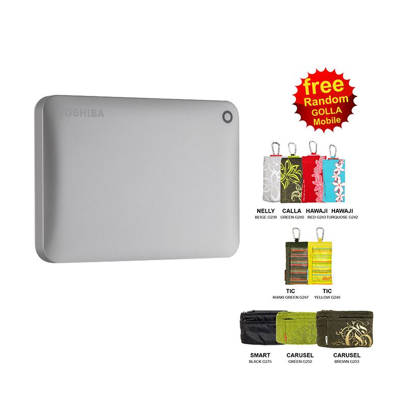 Toshiba Canvio Connect II 1 TB V8 Silver Portable Hard Disk with Software + Golla Wallet
