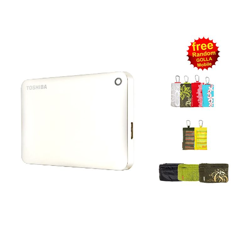 Toshiba Canvio Connect II 500 GB V8 White Portable Hard Disk with Software + Golla Wallet