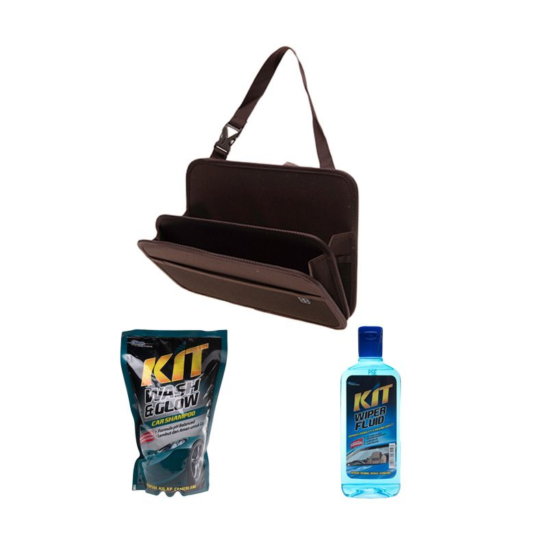 EASI Car Seat Back Storage Tray + KIT Wash & Glow Pouch [800 mL] + KIT Wiper Fluid [300 mL]
