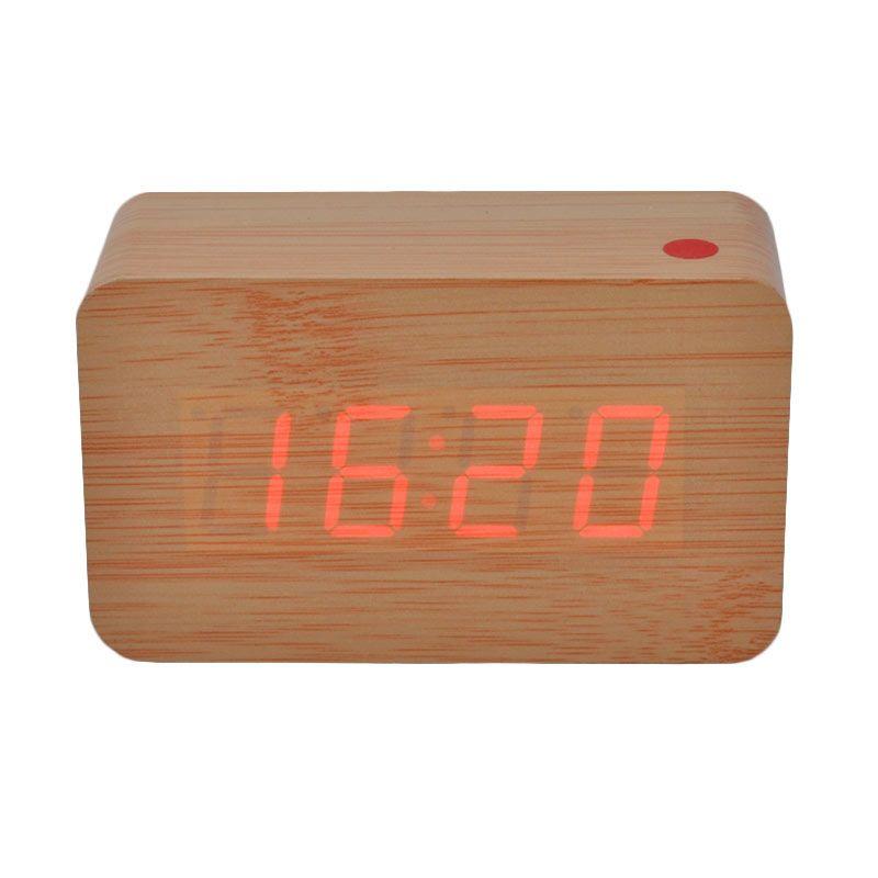 Ecolife Digital Wooden Clock - Light Brown