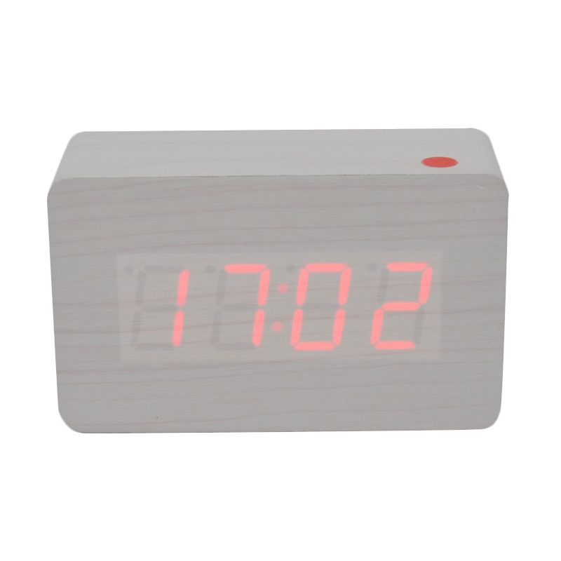 Ecolife Digital Wooden Clock - White