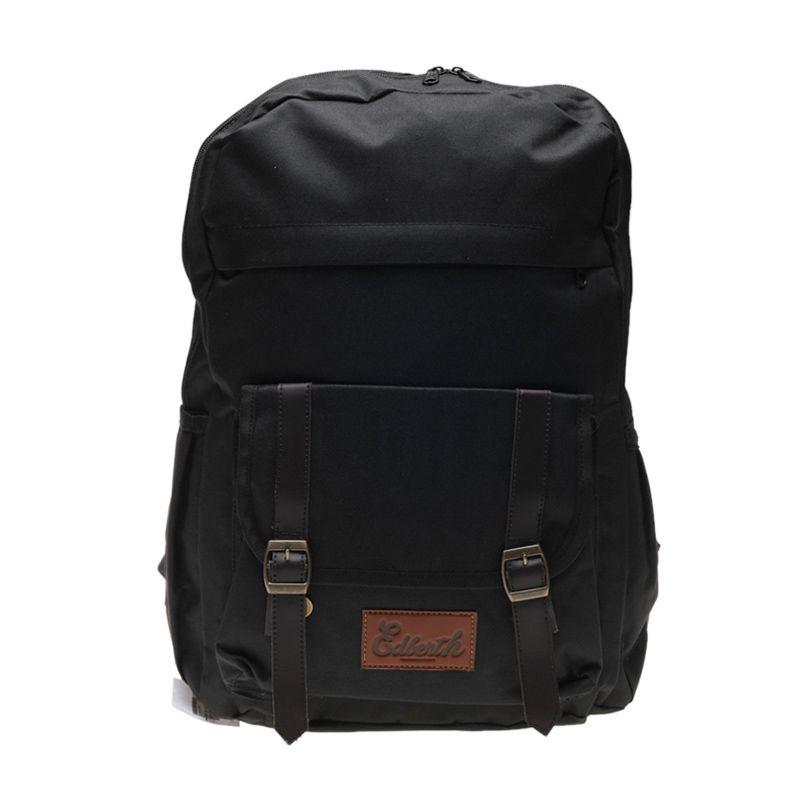 Edberth Double Strap Pocket TR-10 Backpack Black Tas Ransel Pria