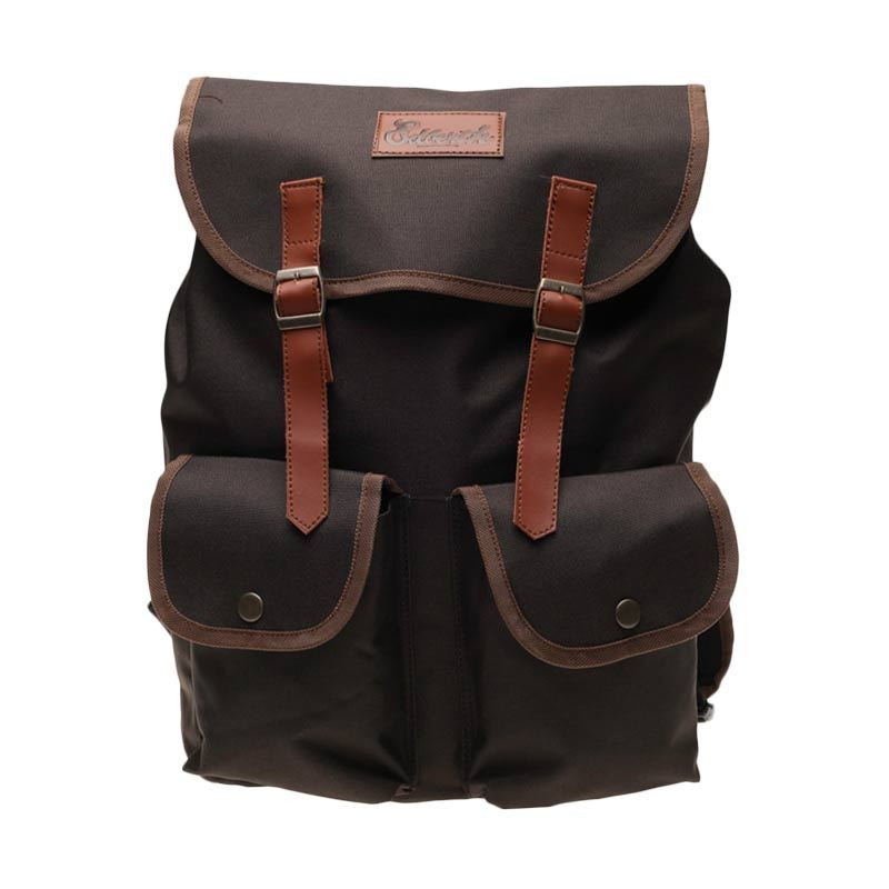 Edberth Front Pocket Double TR-19 Backpack Brown Tas Ransel Pria