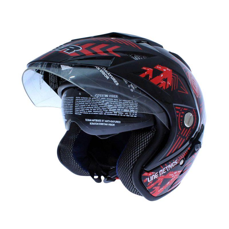 MSR Helmet Double Visor Line Matrics Hitam Merah Helm Open Face