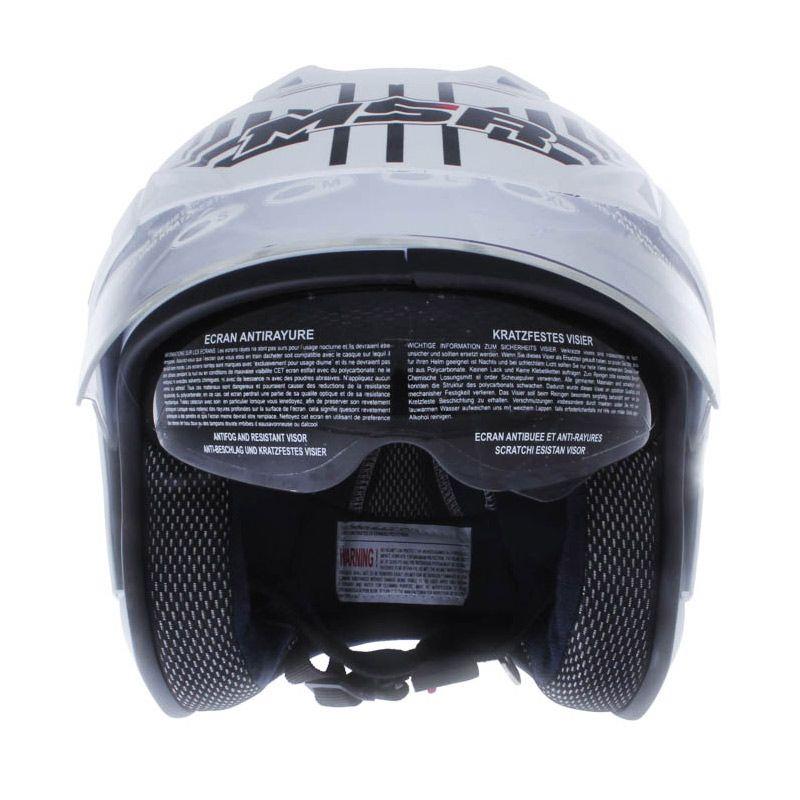 MSR Double Visor Line Matrics Putih Hitam Helm Half Face