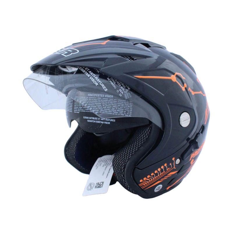 MSR Helmet Impressive Double Visor Protect Hitam Oren Neon Helm Open Face