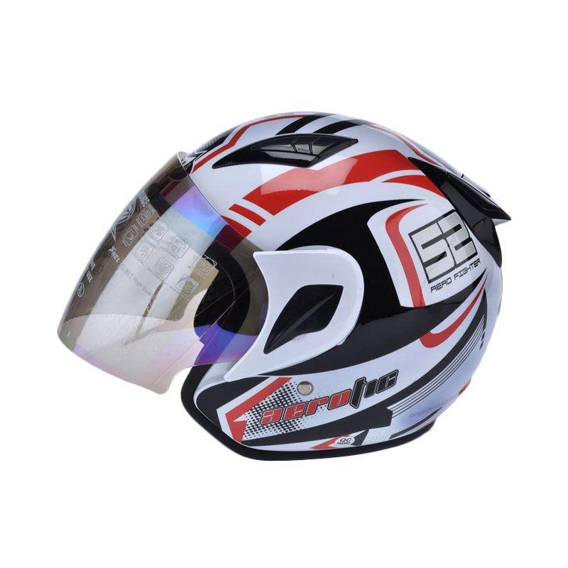 MSR Helmet Javelin Aerotic Putih Merah Helm Half Face