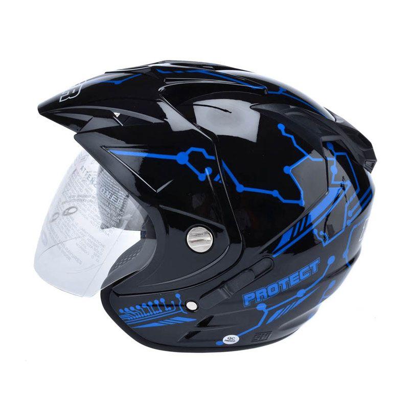 MSR Impressive Double Visor Protect Hitam Biru Helm Open Face