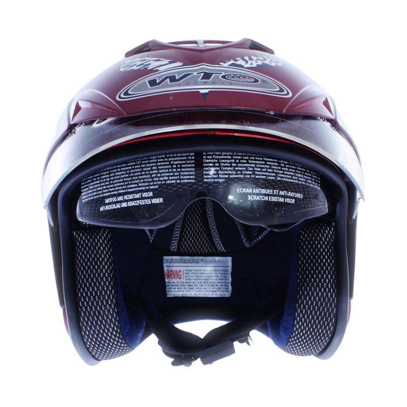 WTO Helmet Impressive Doube Visor Crossline Merah Candy Hitam Helm Open Face