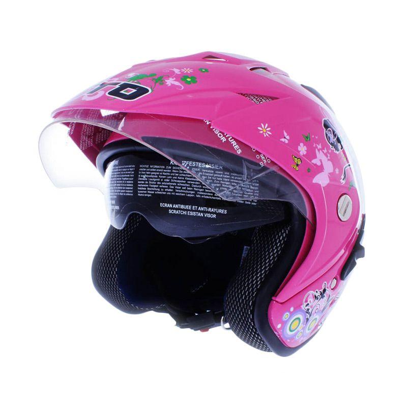 WTO Helmet Impressive Double Visor Pixie Pink Helm Open Face