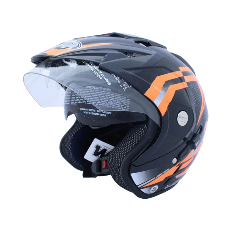 WTO Helmet Impressive Double Visor Frozz Hitam Orange Neon Helm Open Face
