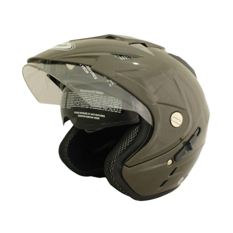 WTO Helmet Impressive Double Visor Hijau Tua Helm Open Face