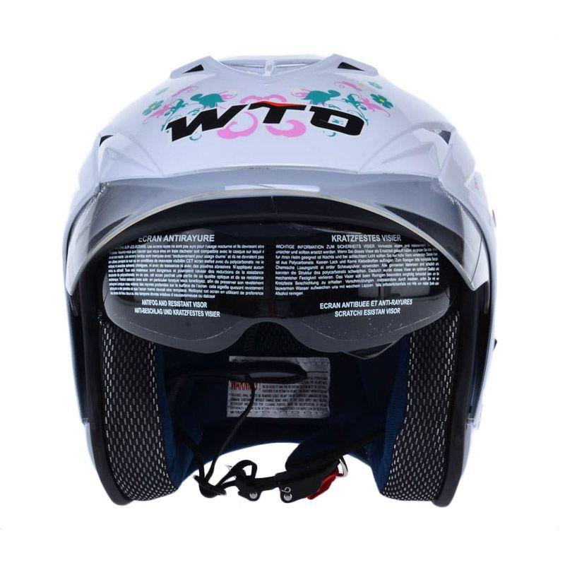 WTO Helmet Impressive Double Visor Pixie Putih Helm Open Face
