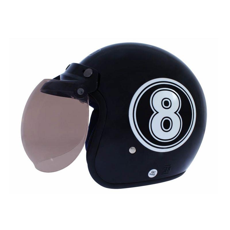 WTO Helmet Retro Bogo 8 Hitam Helm Half Face