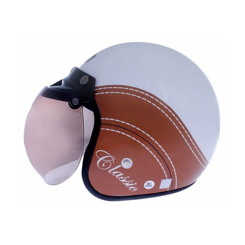 WTO Helmet Retro Bogo Classic Putih Cokelat Helm Half Face