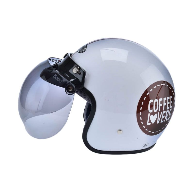 WTO Helmet Retro Bogo Coffee Lover Putih Helm Half Face