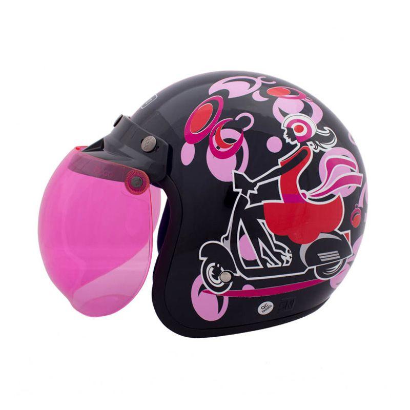 WTO Helmet Retro Bogo Girl Hitam Pink Helm Half Face