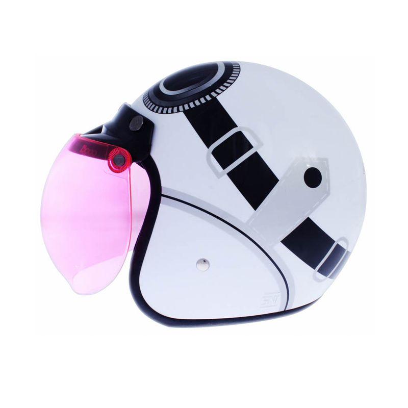 WTO Helmet Retro Bogo Kacamata Putih Helm Half Face