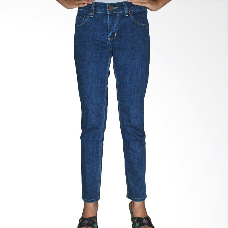2ndRED 233279 Slim Fit Ladies Blue Garment Raw Jeans Celana Panjang