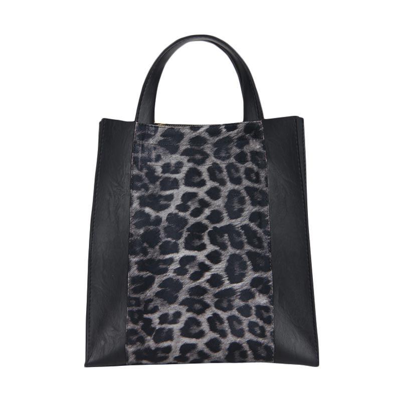 Eline Rose Slim Tote Black Leopard