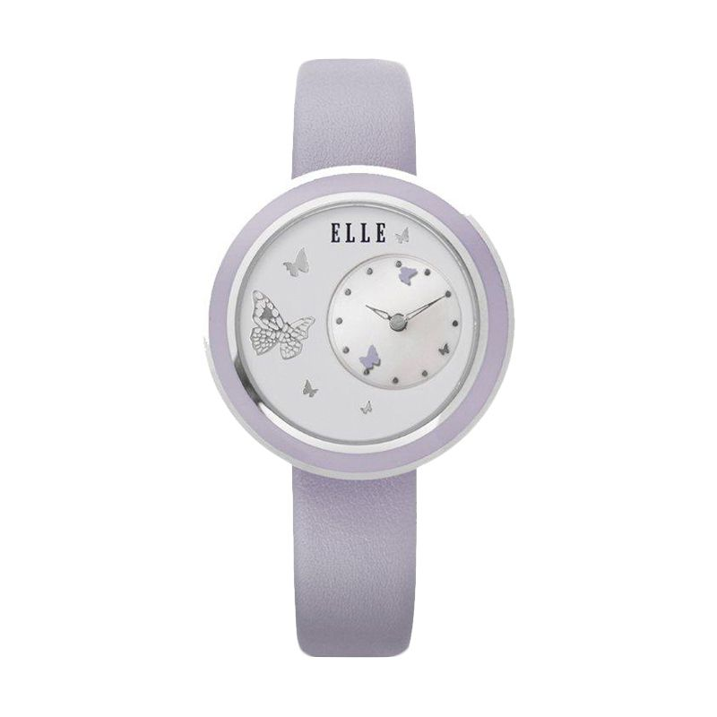 Elle Time EL20278S02C Leather strap Purple Jam Tangan Wanita