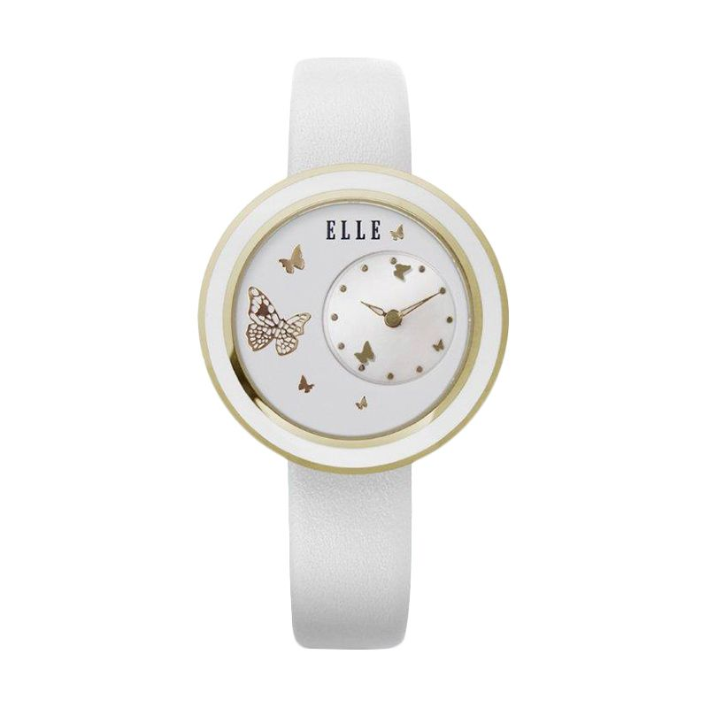 Elle Time EL20278S04C Leather strap White Jam Tangan Wanita