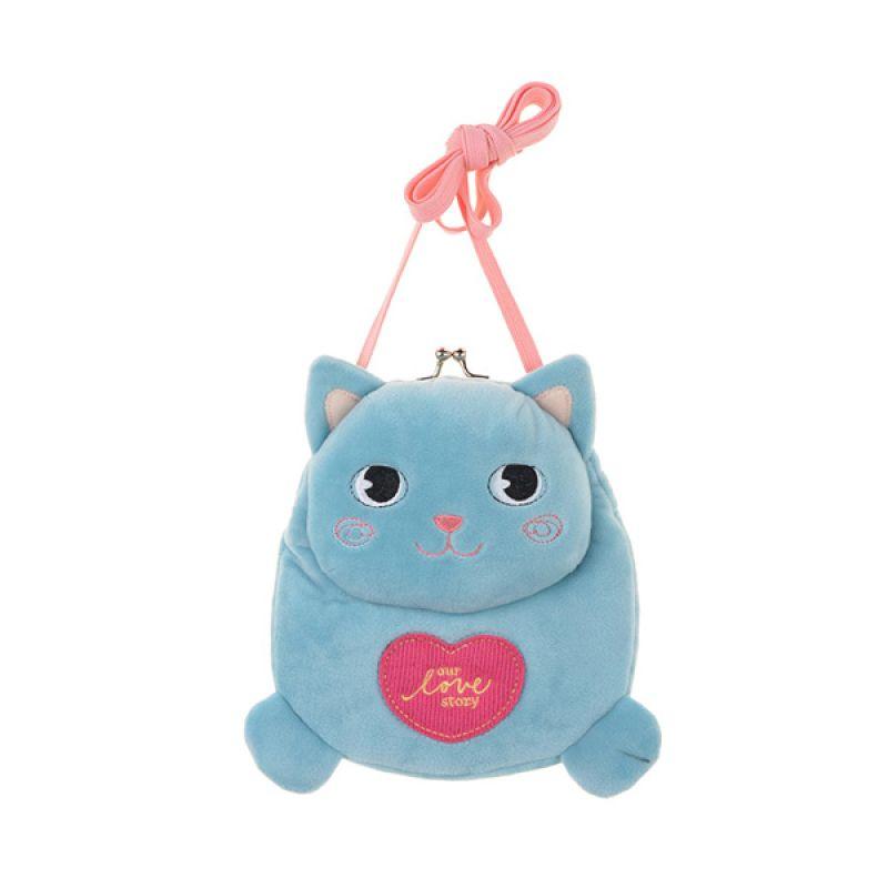 Emily Labels Kiss Baby Cat 06 Blue Sling Bag Tas Selempang