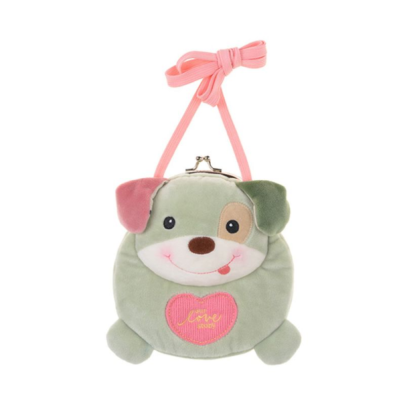 Emily Labels Kiss Baby Dog 08 Green Sling Bag Tas Selempang