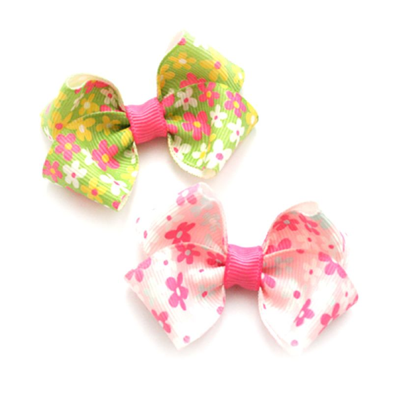 Emily Labels Pink Green Hairbow Set Jepit Rambut