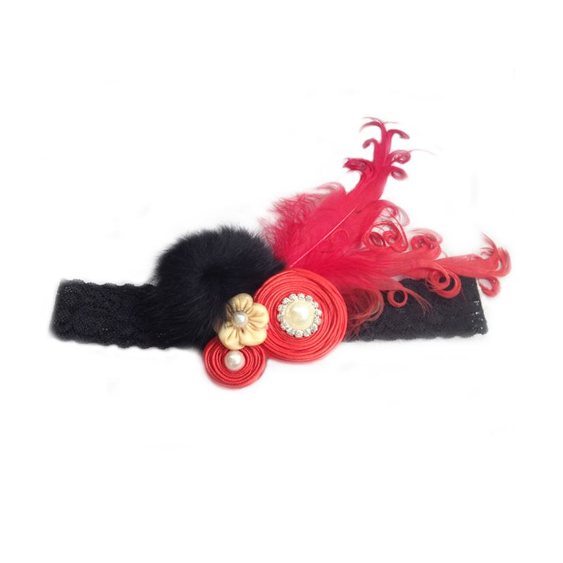 Emma Red Lolly Feather Headband