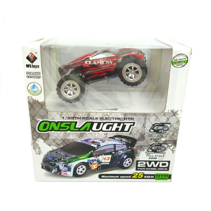 WL Toys Monster Truck Model A 989 Red Mainan Remote Control