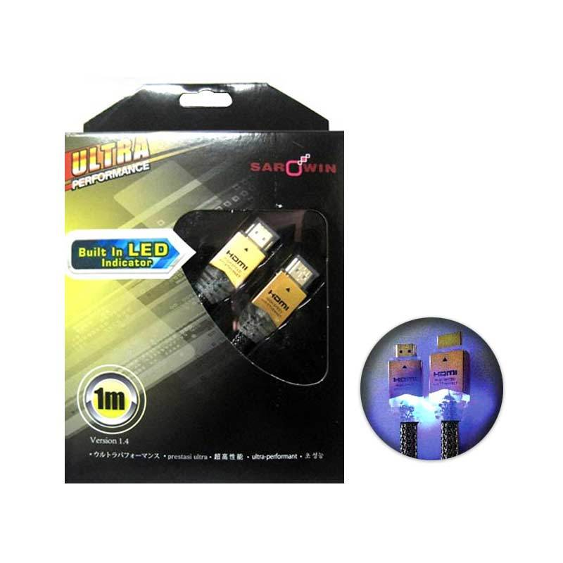 Sarowin Standart A to A HDMI Cable with Blue LED 1 Meter