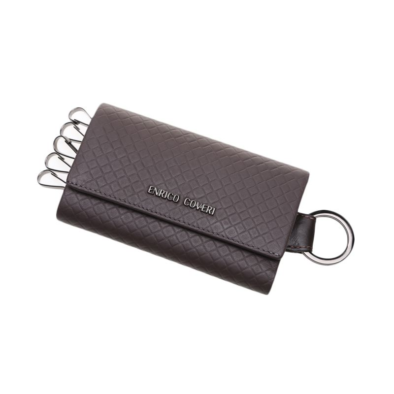 Enrico Coveri Grigilia Leather Walnut Key Holder