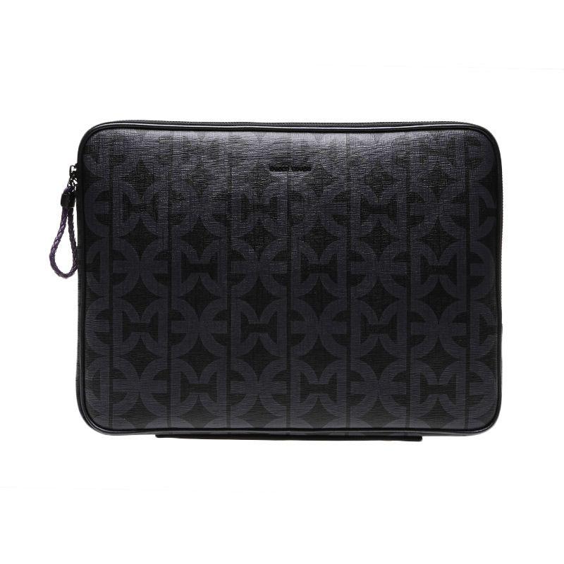 Enrico Coveri Viaggia Leather Black Tas Laptop