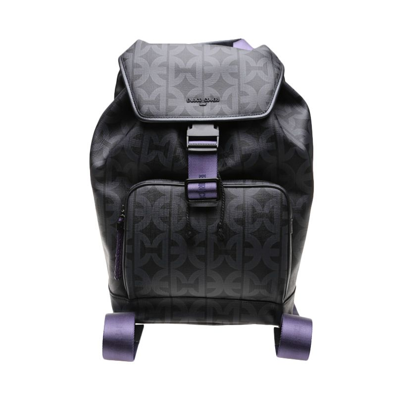 Enrico Viaggia Leather Black Backpack Tas Ransel