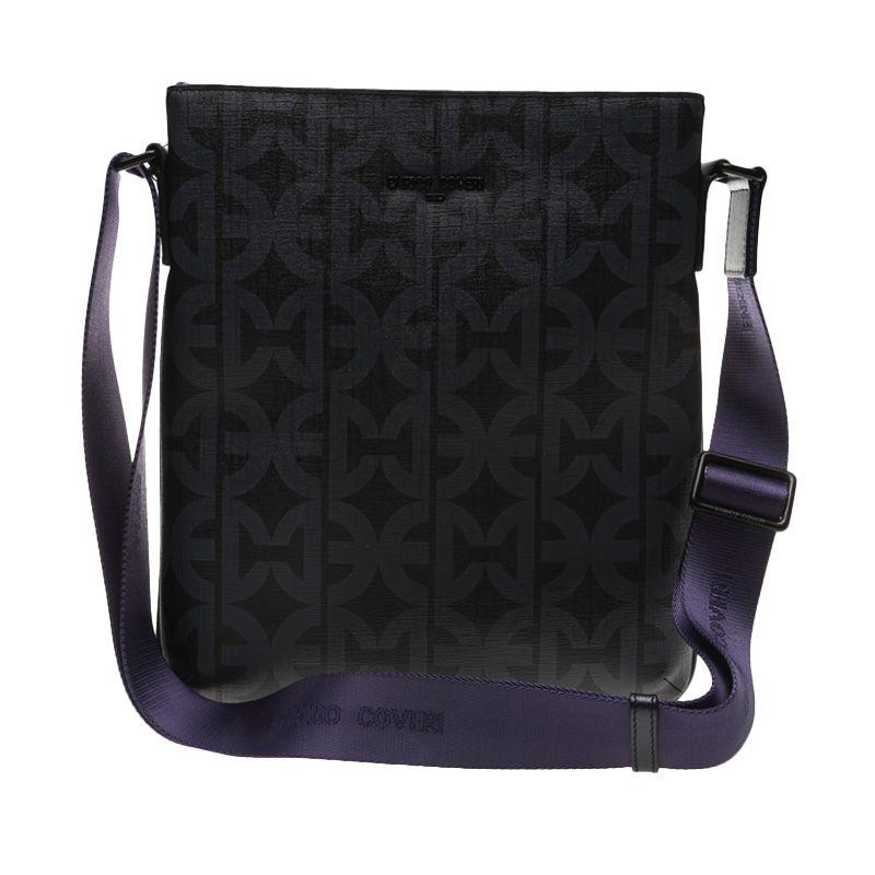 Enrico Viaggia Leather Black Messenger Bag Tas Selempang