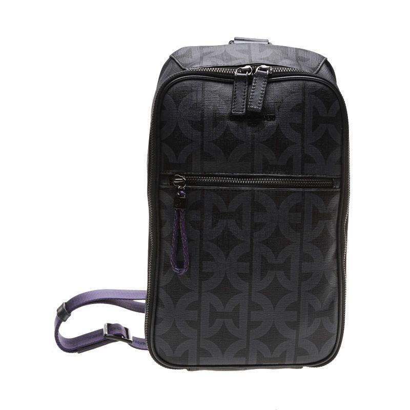Enrico Viaggia Leather Black Sling Bag Tas Selempang