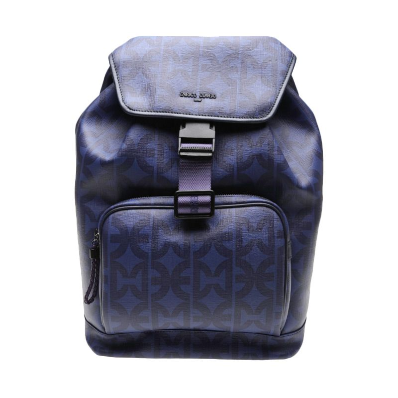 Enrico Viaggia Leather Blue Backpack Tas Ransel