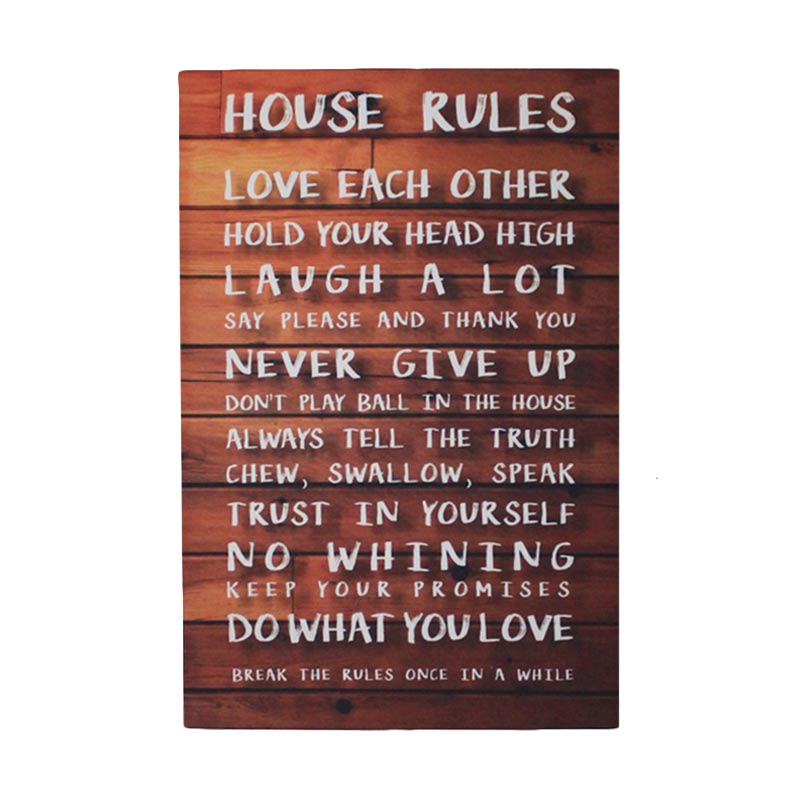 ENVIE House Rules Lukisan Kanvas [40 x 60 cm]